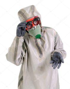 Спецодежда для защиты дыхательного аппарата от пыли и рук от механических повреждений